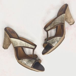 Sofft Snakeskin Kitten Heel Sandals 7.5